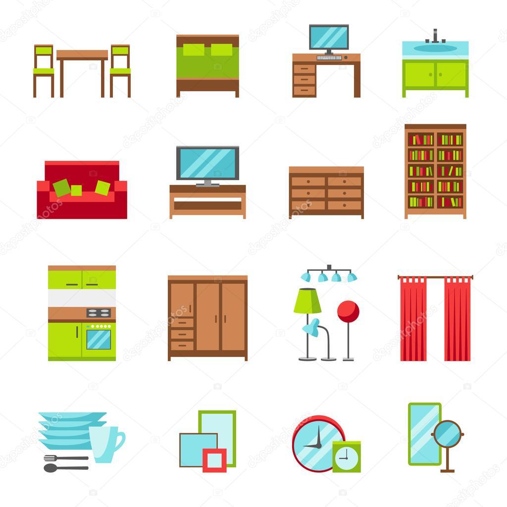 Set di icone mobili vettoriali stock for Stock mobili ufficio
