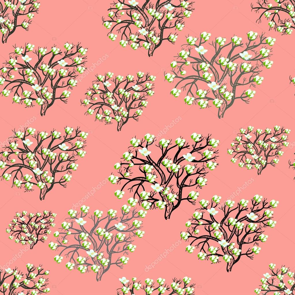 seamless pattern the silhouette tree with flowers on pink. vecto