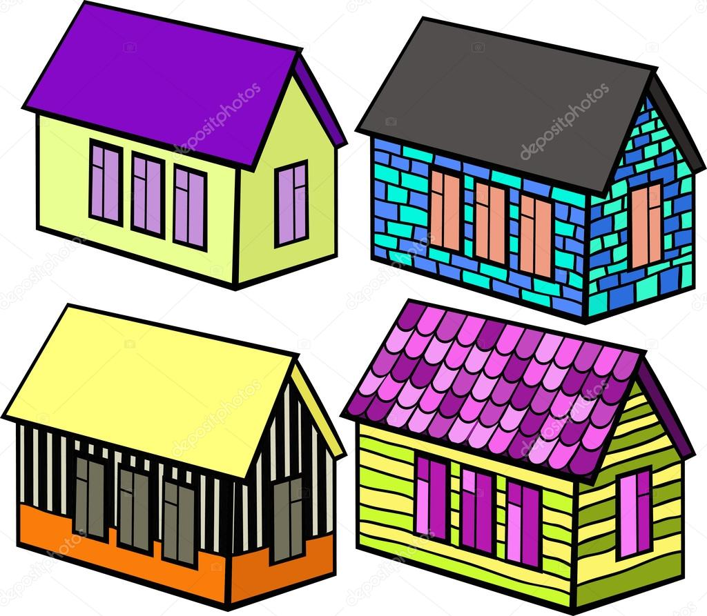 Imagenes Casa De Ladrillo Dibujo Conjunto De Casas De Madera Y