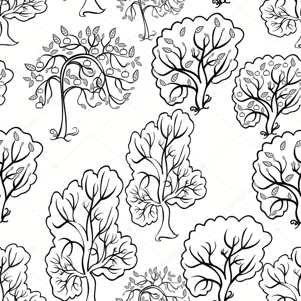 Bir Elma Ağacı Seamless Modeli Boyama Vektör çizim Stok Vektör
