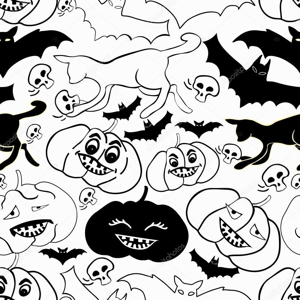 Kleurplaten Halloween Pompoen Vleermuis.Naadloze Patroon Met Halloween Kleurplaten Pompoen Kat Schedel Ba