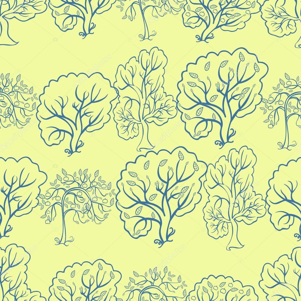 Dikişsiz Desen Sarı Bir Arka Plan üzerinde Bir Elma Ağacı Boyama