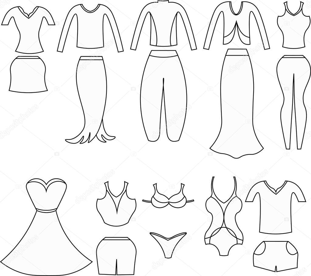 Colorear conjunto de ropa para mujeres. Ilustración de vector ...