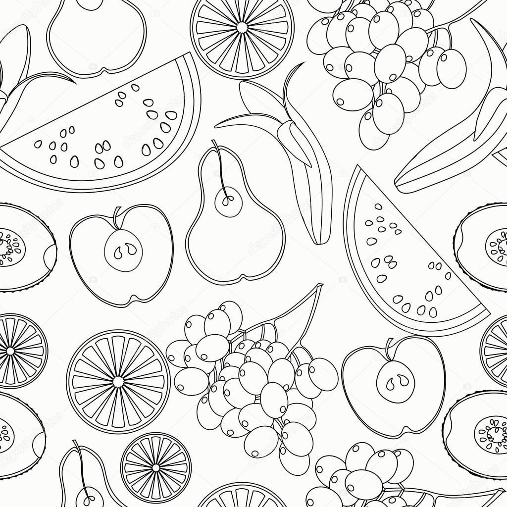 Naadloze Patroon Kleurplaat Fruit Watermeloen Oranje Kiwi Druiven
