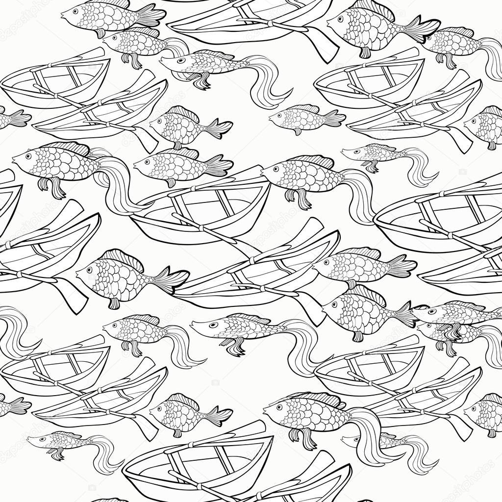 nahtloses Muster Färbung Boot Fischen net. Vektor-illustration ...