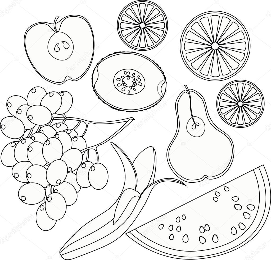 Kleurplaten Fruit En Groente.Verzameling Kleurplaten Groenten Watermeloen Oranje Kiwi Druiven