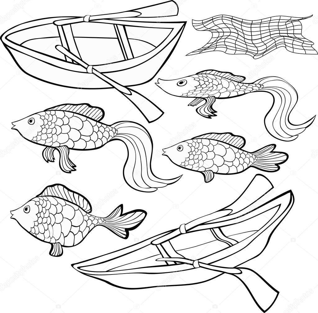 Set para colorear de barco, red de peces. Ilustración de vector ...