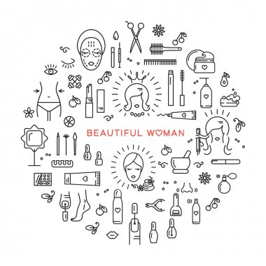 Beauty set line icons art Vector cosmetic spa Beautiful woman