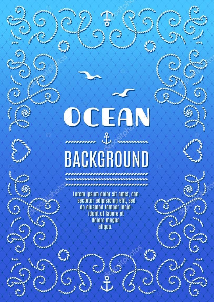 Ocean background Marine frame vector Nautical