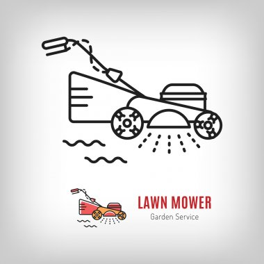 Vector lawn mower icon Mowing grass Gardening tools logo