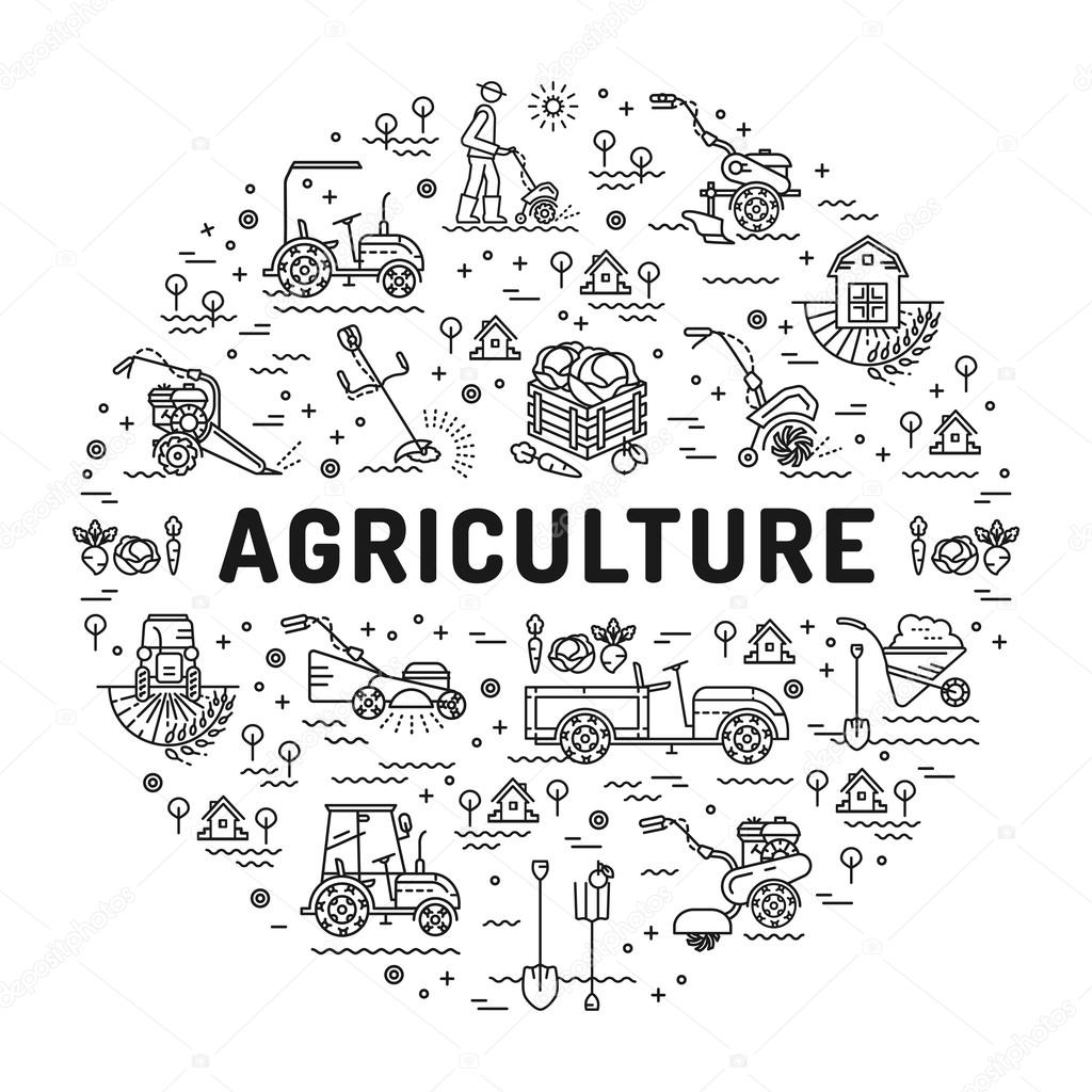 Agriculture and farming line art icons, farm infographics