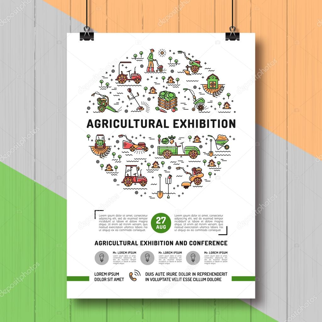 Agricultural Exhibition design poster or card template