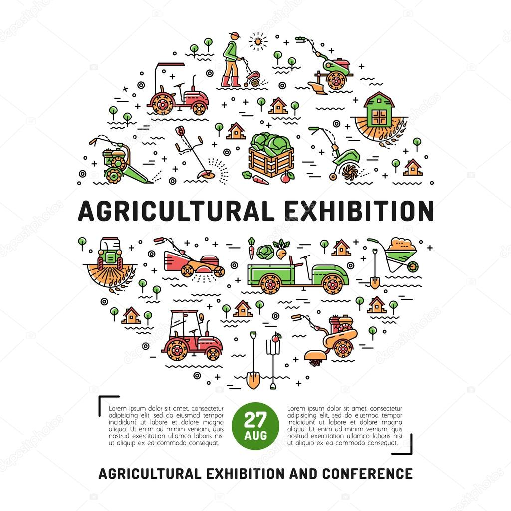 Agricultural Exhibition design template flyer, banner or card