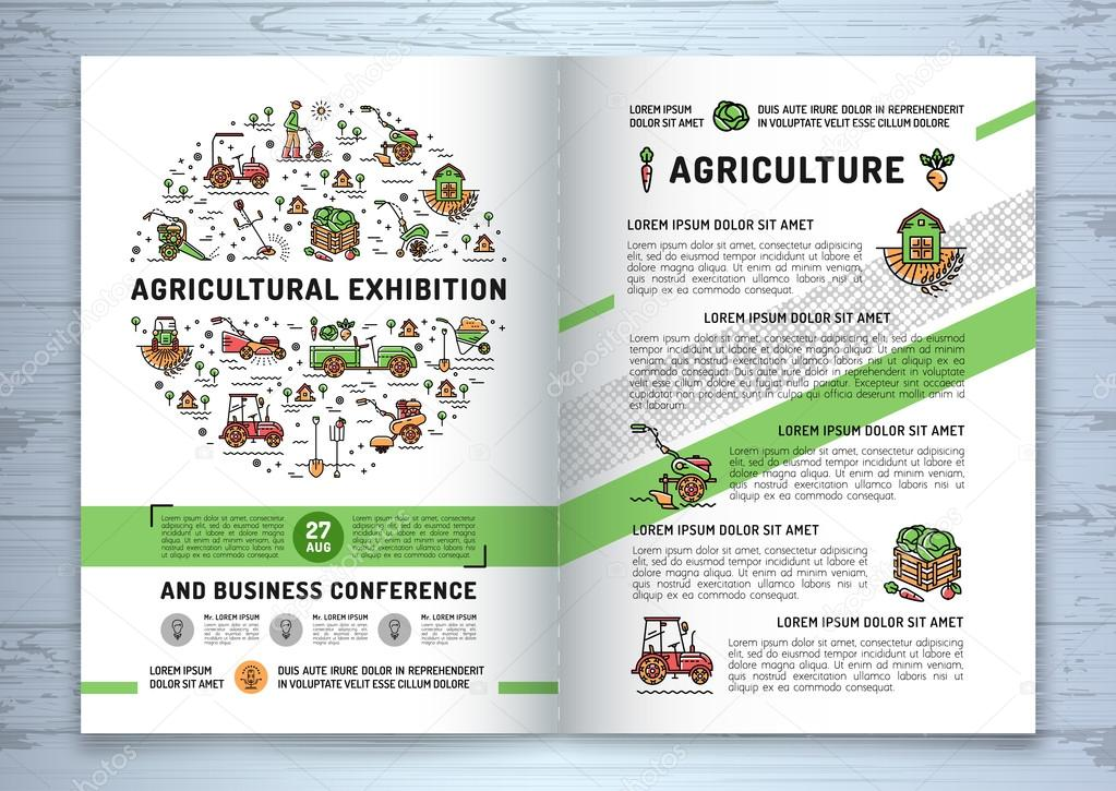 agricultural exhibition business brochure design template flyer or