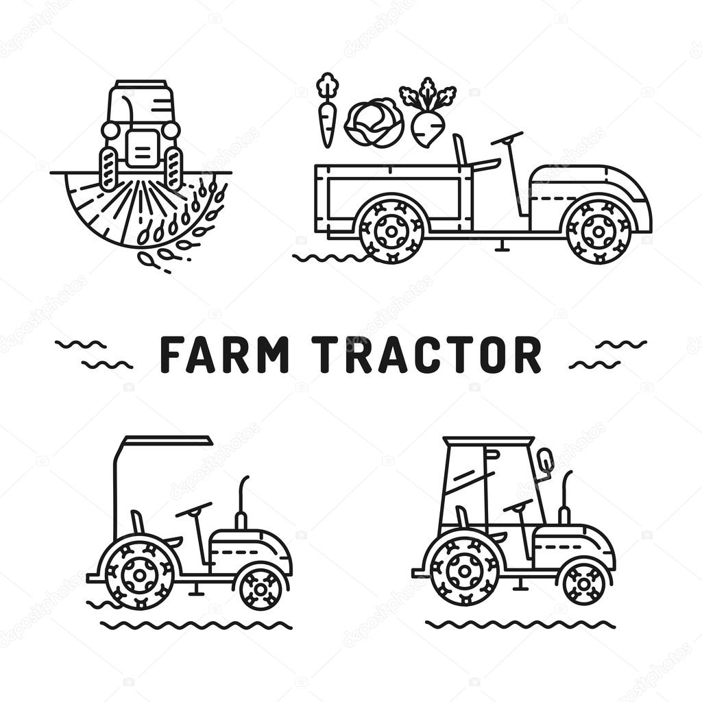 Set logos farm tractor line art style Agriculture machines vector