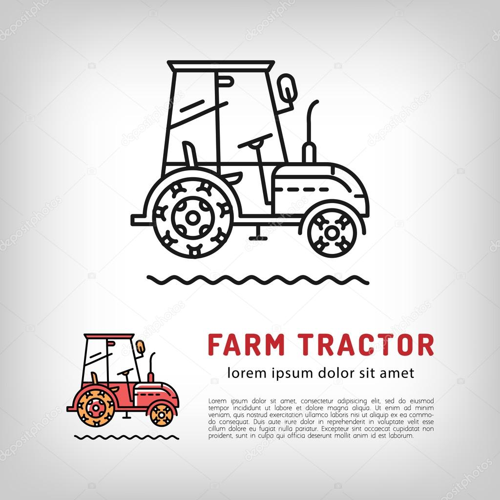 Farm tractor cab icon line art style Isolated vector logo