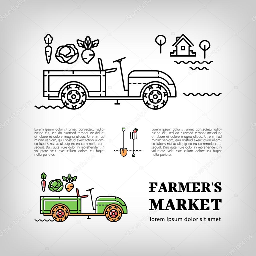 Farmers market logotype Farm tractor icon thin line art style