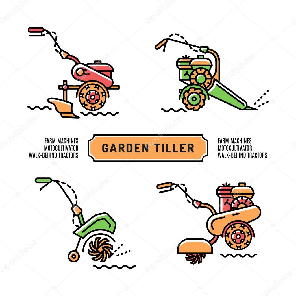 Set logos Garden Tiller thin line art style Agriculture machines
