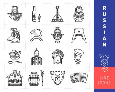 Russian culture black thin line icons. Russia traditional vector symbols