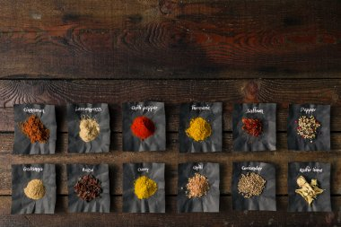 Colourful spices on wooden table
