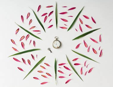 Creative natural pattern made of pink petals and leaves.