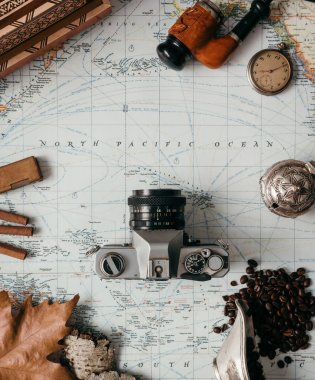 Flat Lay Adventure Vintage Gear