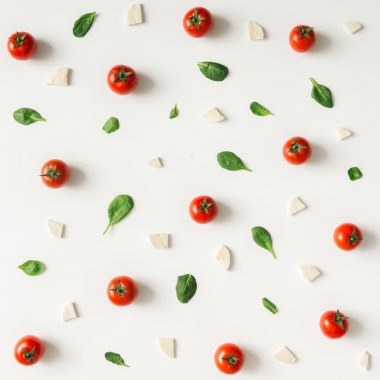 Colorful pizza ingredients pattern.