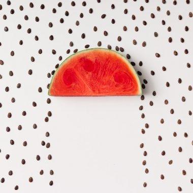 Watermelon slice with seeds raining