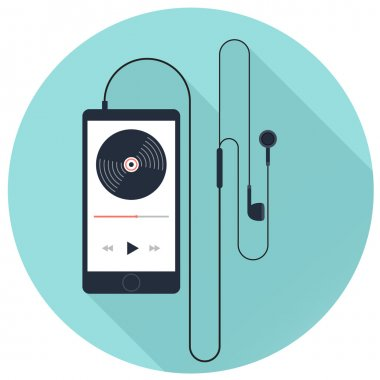 Music player with earphone on blue background, flat vector icon