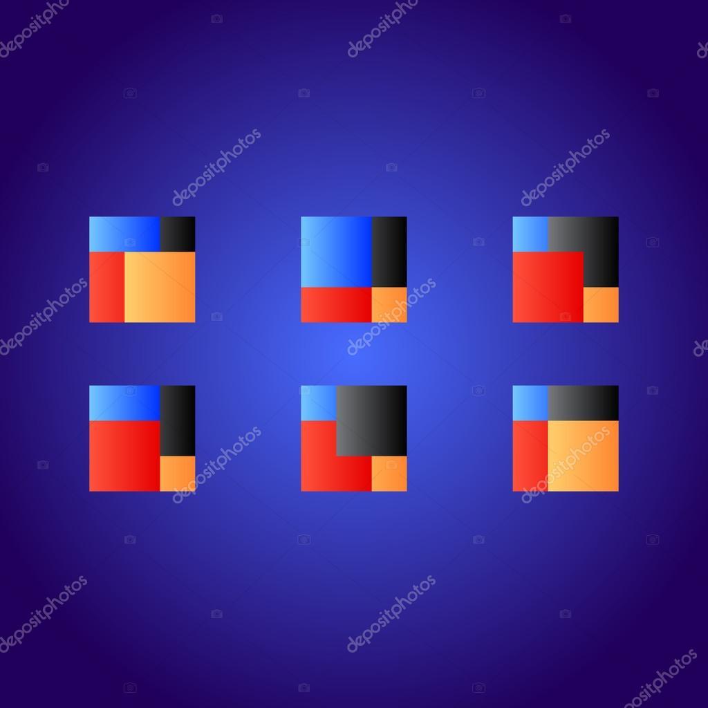 Plaza Resumen De Logo Color Rojo Azul Negro Naranja Archivo