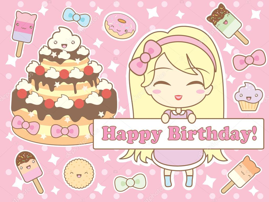 Happy Birthday Card In Kawaii Style Stock Vector A C Marymo Art