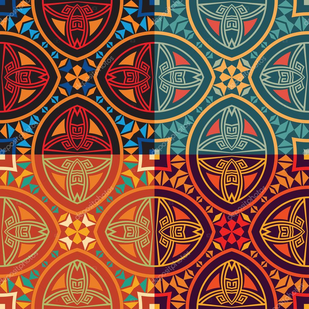 Texturas Etnicas Colección De Cuatro Colores Tribales étnicas