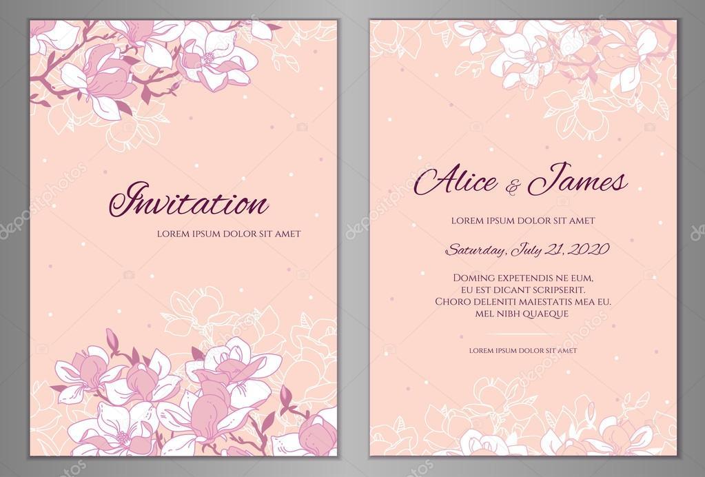Elegante Blumen Hintergrund Für Ihre Hochzeitseinladung Karte, Flyer Oder  Grüße Karte. Vorlage Mit Ein