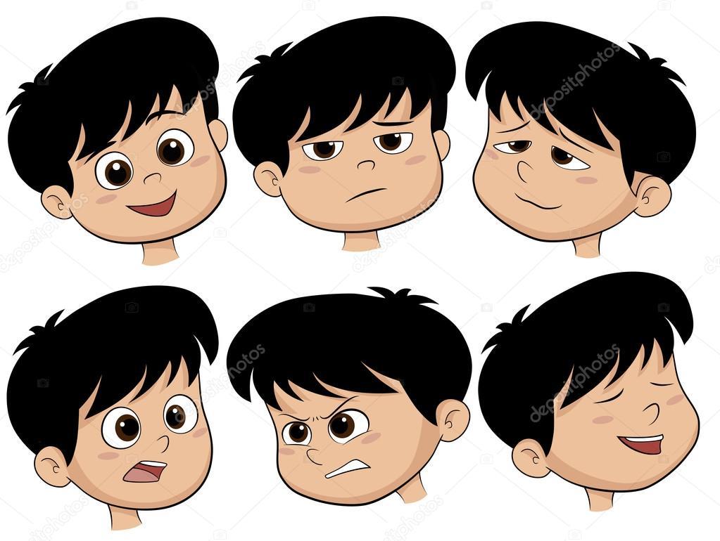 Para Niños De Dibujos Animados Caras Diferentes: Imágenes: Emociones De Personas Animadas