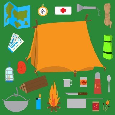 Camping supplies, essentials collection