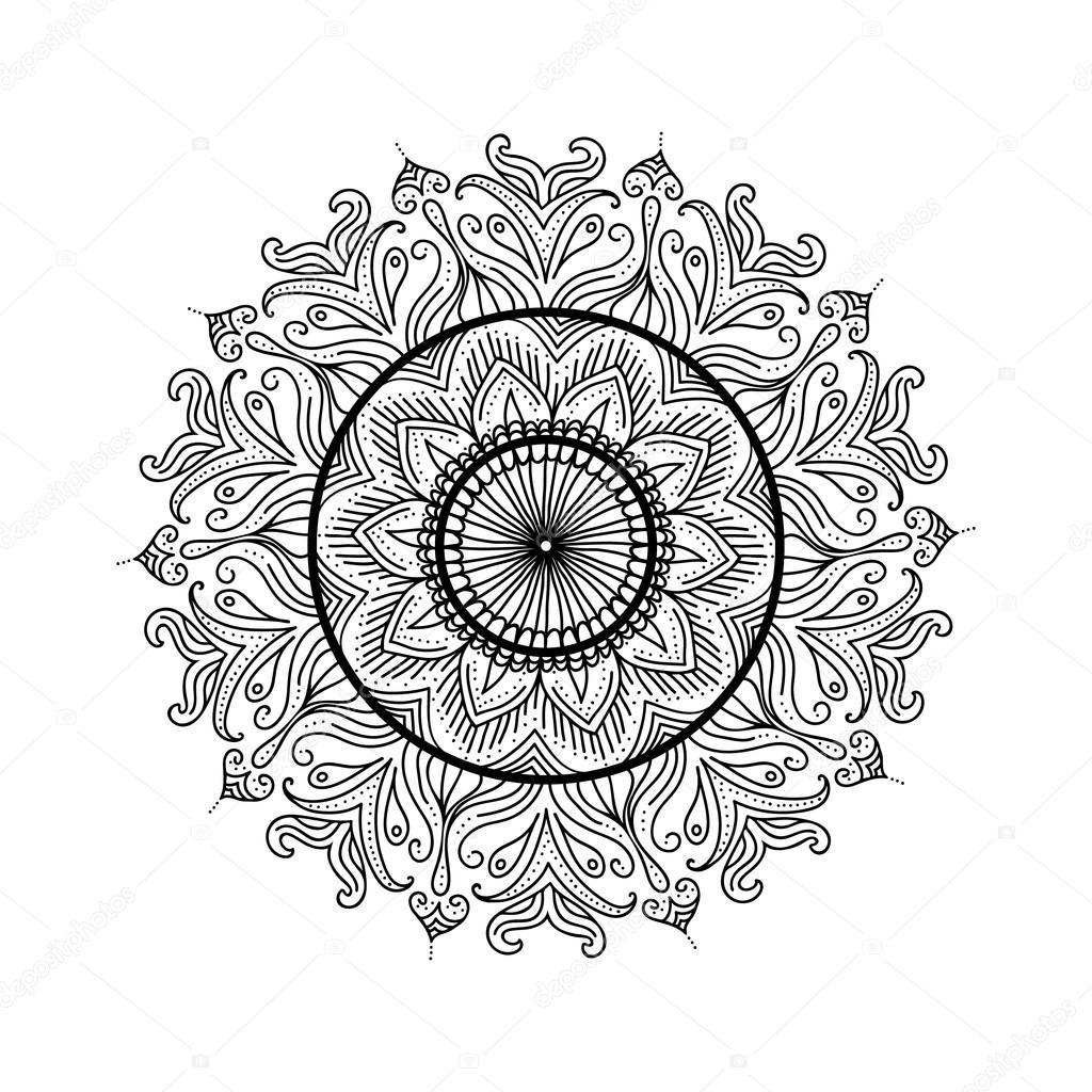 Schöne Mandala. Abstrakt-ornamentalen Vintage Malvorlagen Vorlage ...