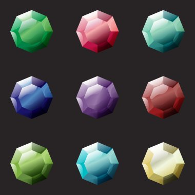 Set of octagon different color crystals,gemstones,gems,diamonds vector gui assets collection for game design.