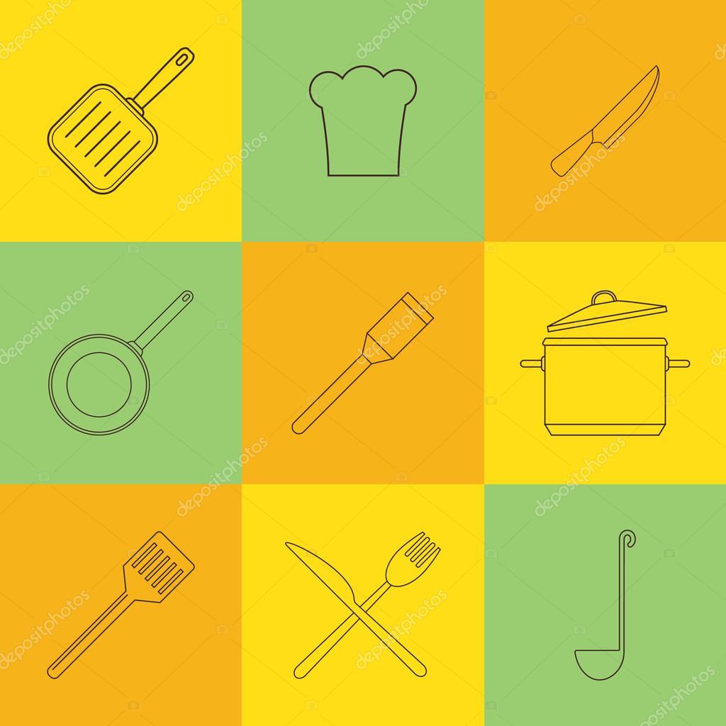 Küche Und Restaurant Symbol Geschirr Set Auf Fliesen Stockvektor - Fliesen für restaurant küche