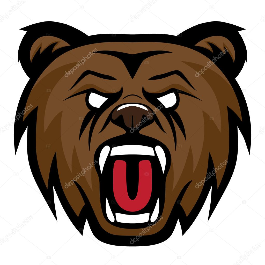 grizzly bear modern logo for a sport team premade vector logotype rh depositphotos com