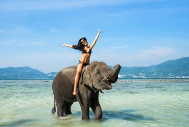 woman and elephant