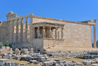 The six Caryatids Porch of the Erechtheion at the Acropolis of Athens, Greece.