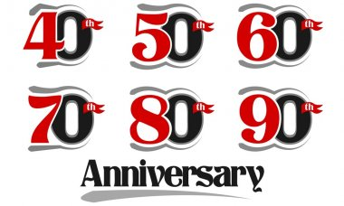 Celebration Anniversary Set - 40th, 50th, 60th, 70th, 80th And 90th Vector