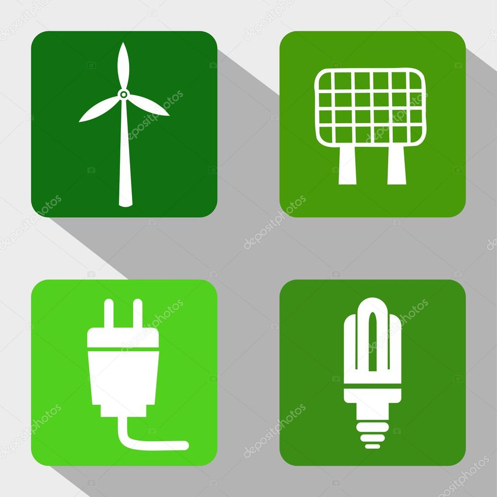 Renewable Energy Sources Icons - Windmill, Solar Panel, Electricity and Modern Light Bulb