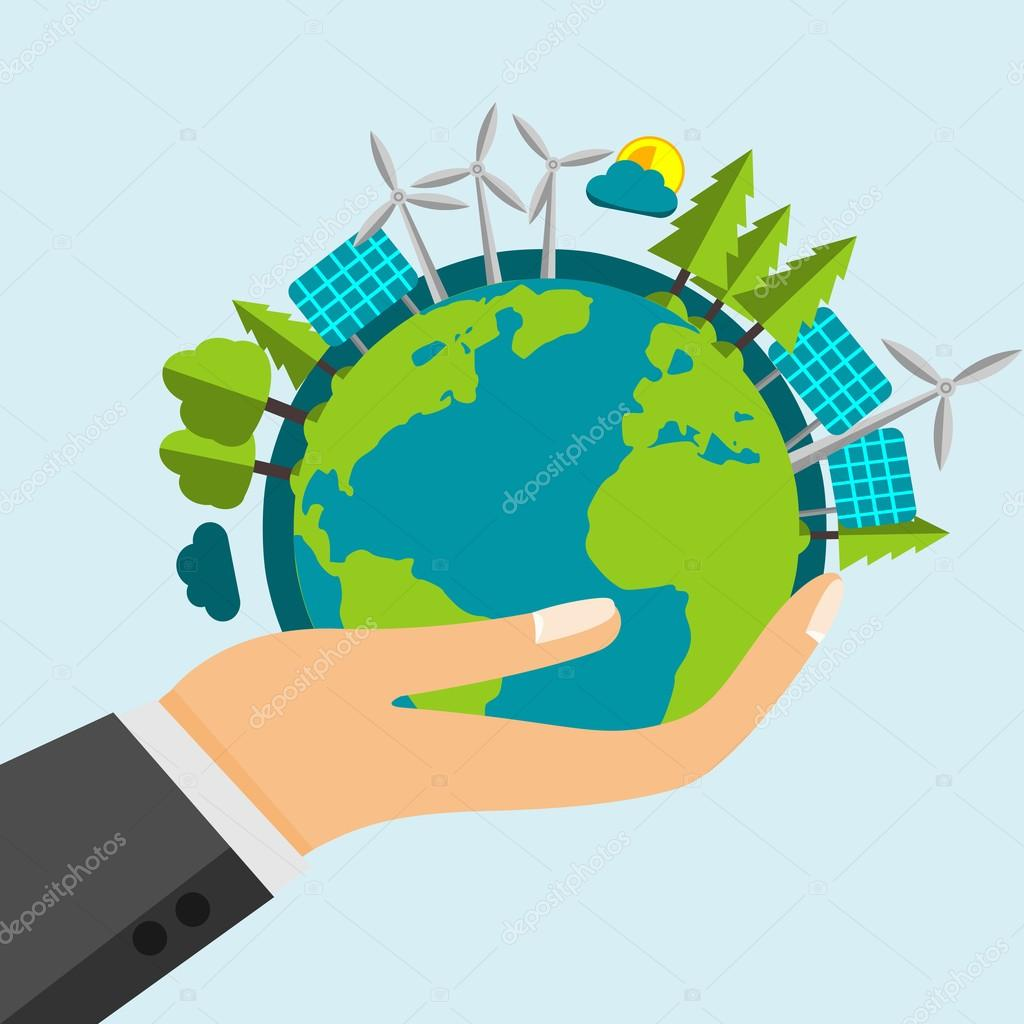 Open Cartoon Hand Holding The Planet Earth Filled With Green Nature And Renewable Energy Sources - Windmills and Solar Panels