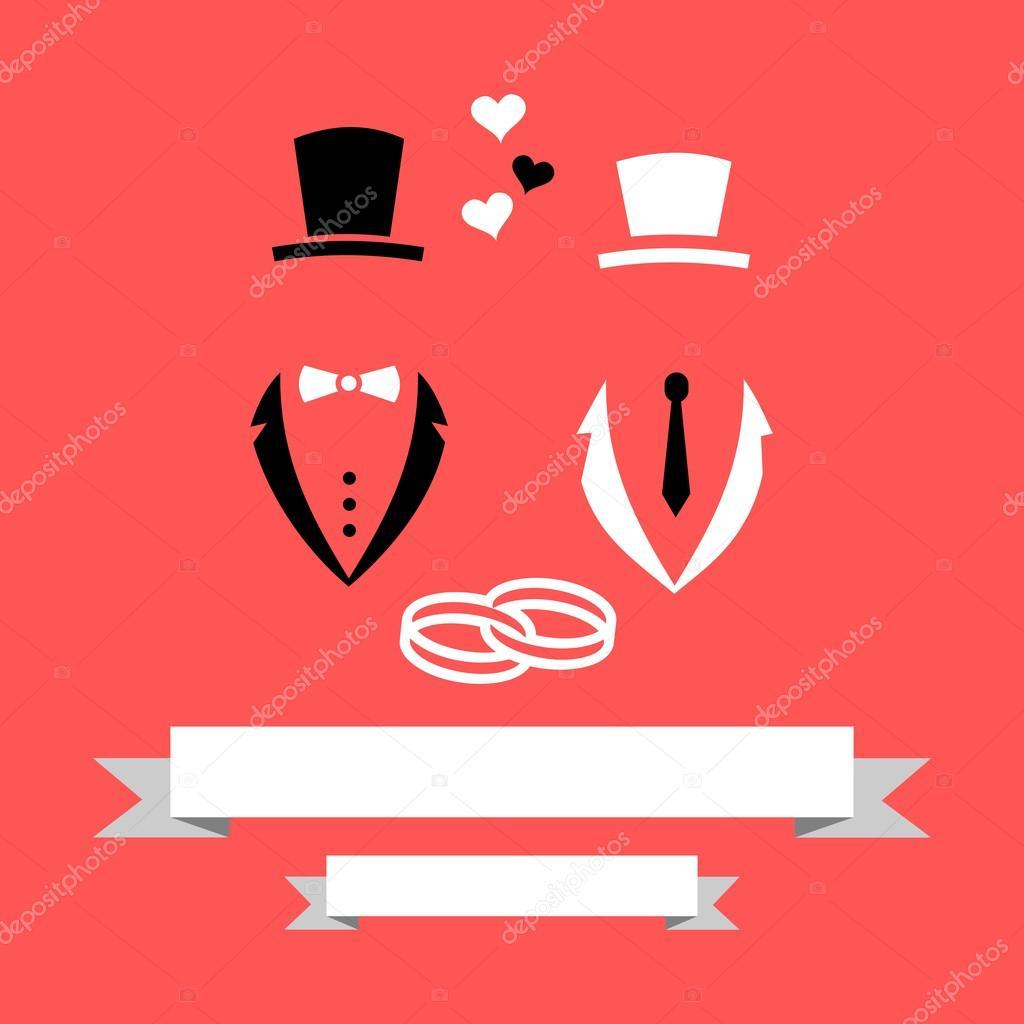 Homosexual gay wedding groom and groom marriage invitation card with homosexual gay wedding groom and groom marriage invitation card with banner rings flat modern vector stopboris Images