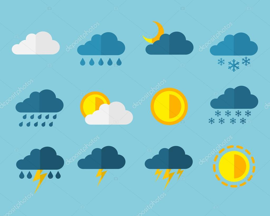 Weather Meteorology Flat Web Icon Sign Set Sun Rain Snow Cloud