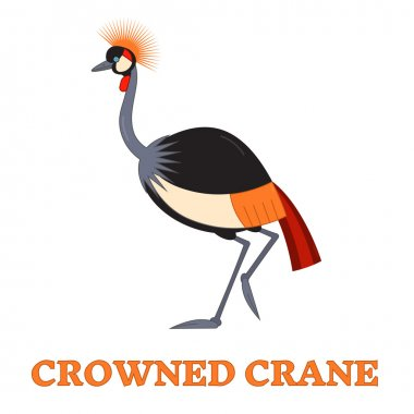 Crowned Crane Line Art Icon