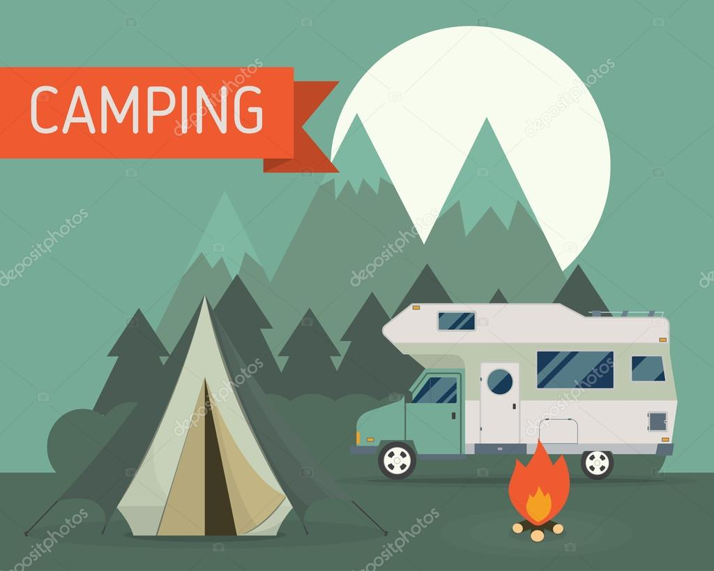 camping scene with family trailer caravan