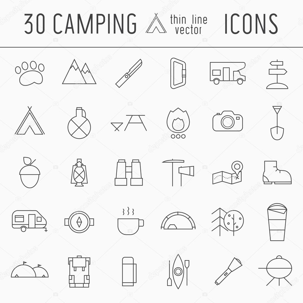 Camping thin line icon set of mountain exploration or scout elements. Travel, hiking, climbing outline pictograms for adventure web and applications. Tourist outdoor activities equipment. stock vector