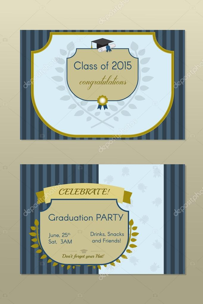 Graduation invitation or certificate vetor de stock krugli86 graduates celebrating party invitation vintage template with hat scroll and seal vetor por krugli86gmail stopboris Gallery